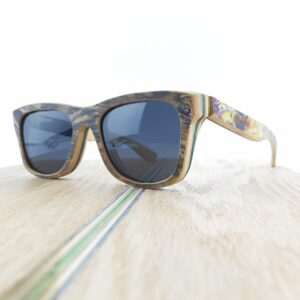 Recycled Wooden Skateboard Sunglasses (Graphic bit of purple)