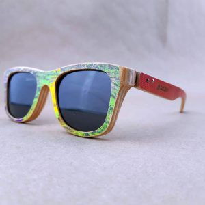 Recycled Wooden Skateboard Sunglasses (Graphic white and purple)