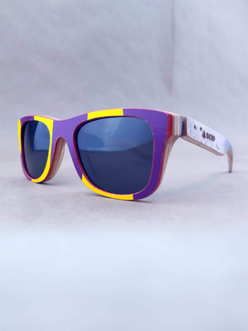 Recycled Wooden Skateboard Sunglasses (Graphic blues)