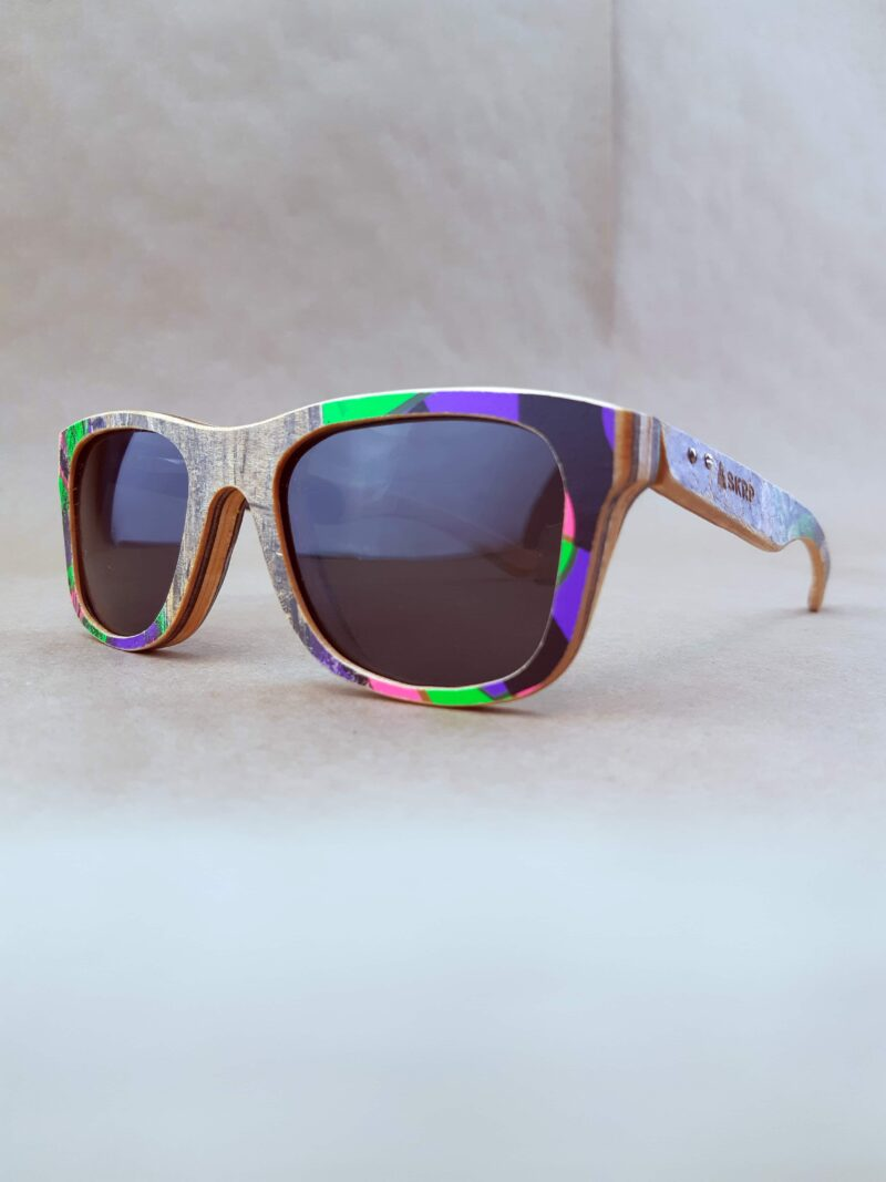 Recycled Wooden Skateboard Sunglasses (Graphic dots)