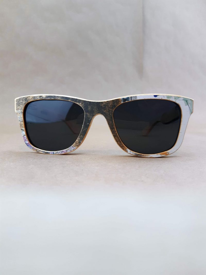 Recycled Wooden Skateboard Sunglasses (Light and Gray Graphics)