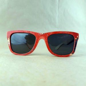 Recycled Wooden Skateboard Sunglasses (Red Frames)