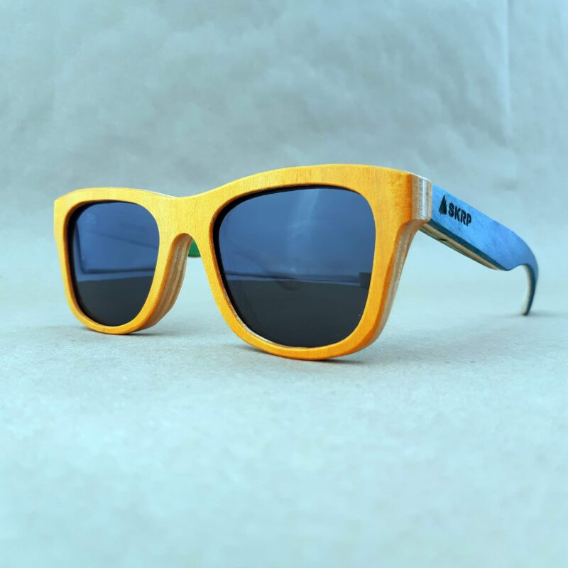 Recycled Wooden Skateboard Sunglasses (Orange Frames and light blue temples)