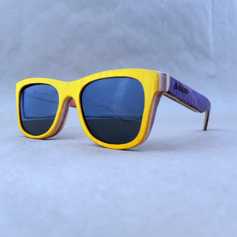 Recycled Wooden Skateboard Sunglasses (Yellow Frames and Purple Temples)