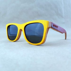 Recycled Wooden Skateboard Sunglasses (Orange Frames and Red temples)