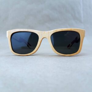 Recycled Wooden Skateboard Sunglasses (Grey/white Temples)