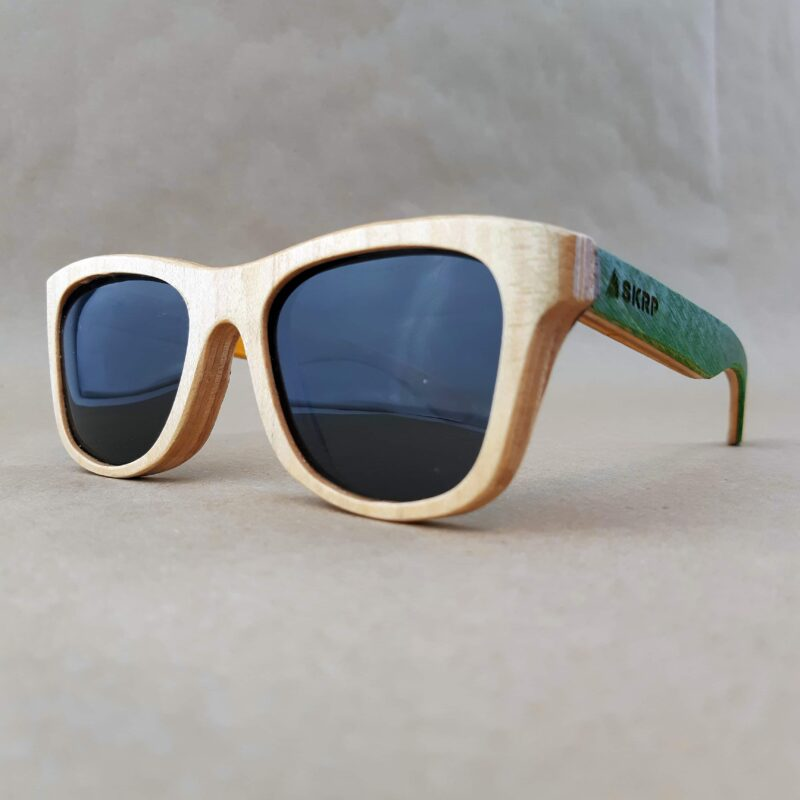 Recycled Wooden Skateboard Sunglasses (Green Temples)