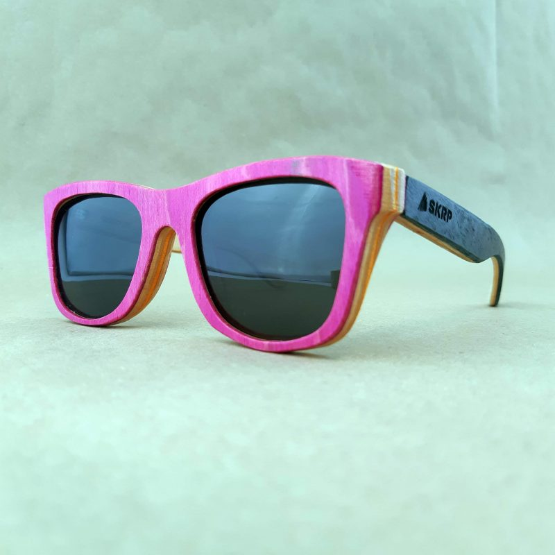 Recycled Wooden Skateboard Sunglasses (Pink Frames)