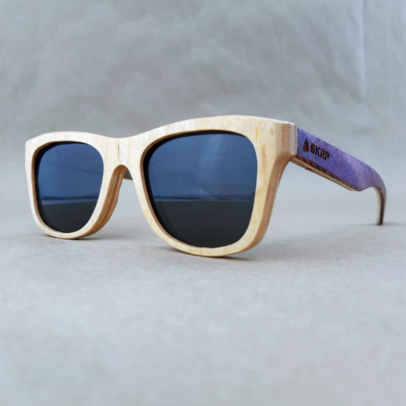 Recycled Wooden Skateboard Sunglasses (Purple Temples)