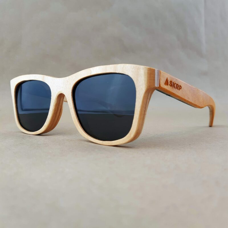 Recycled Wooden Skateboard Sunglasses (Orange Temples)