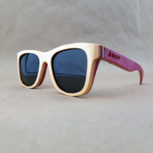Recycled Wooden Skateboard Sunglasses (Pink Temples)