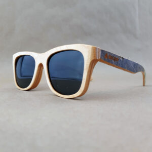 Recycled Wooden Skateboard Sunglasses (Grey Graphic Temples)