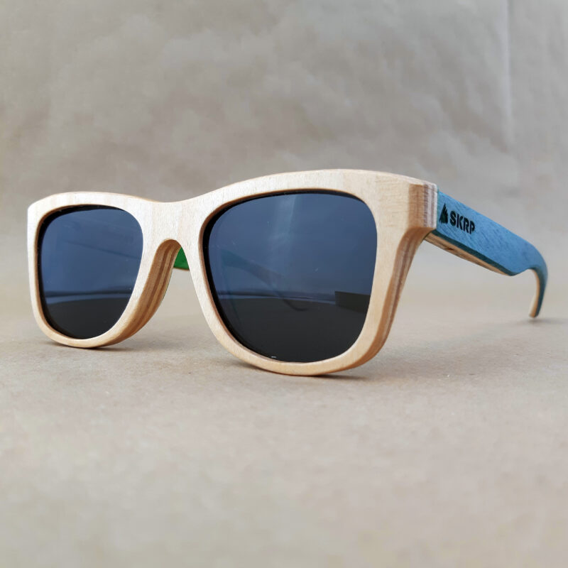 Recycled Wooden Skateboard Sunglasses (Light Blue Temples)
