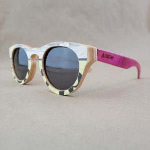 Recycled Wooden Skateboard Sunglasses (Rounded Lens Style)